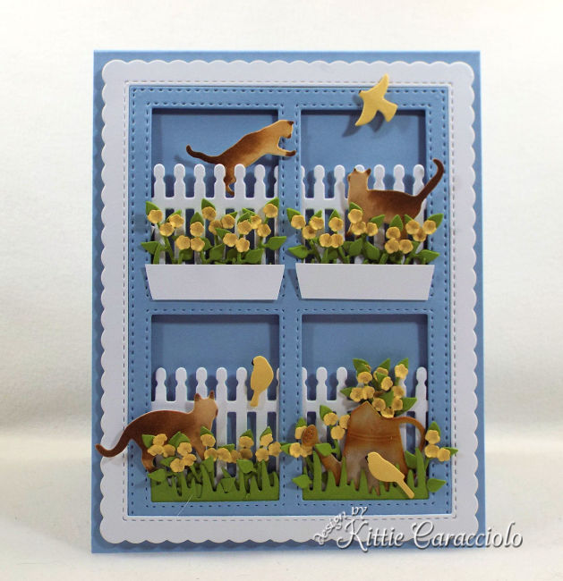 Come see how I made this die cut window scene with cats and birds card perfect for a cat lover.
