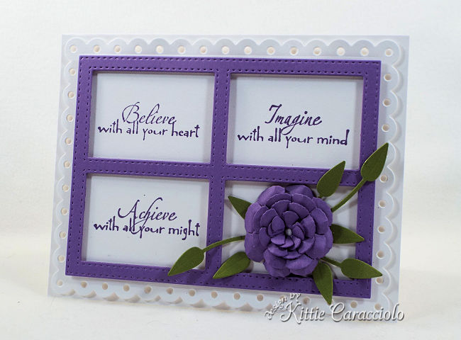 Come see how I made this inspirational die cut framed sentiment and flower arrangement project.