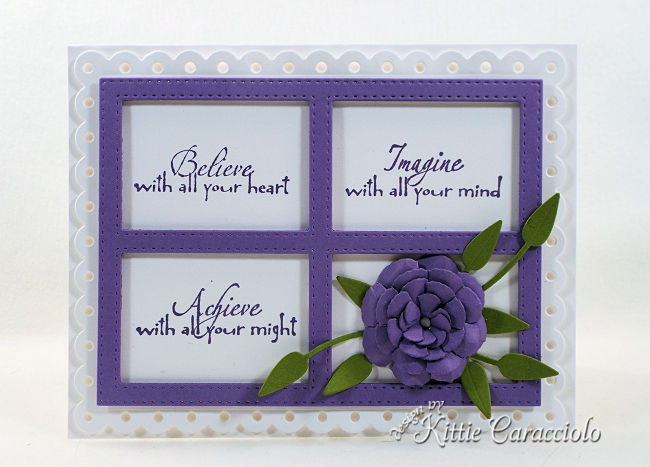 Come see how I made this inspirational die cut framed sentiment and flower card.