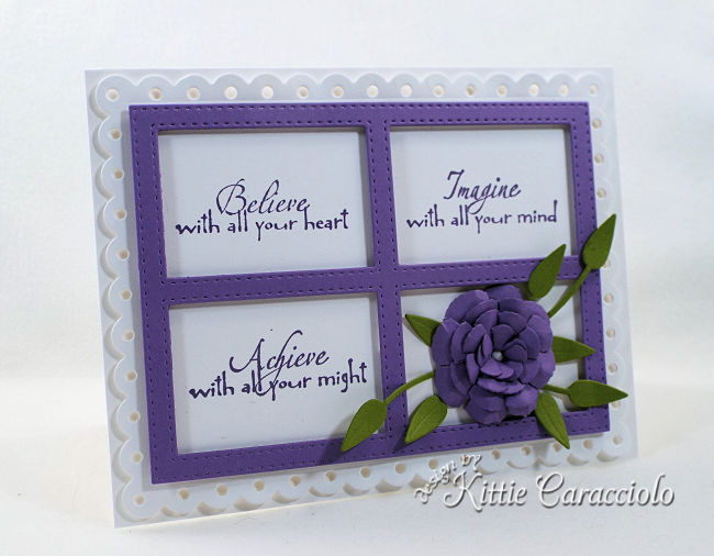 Come see how I made this inspirational die cut framed sentiment and flower project.