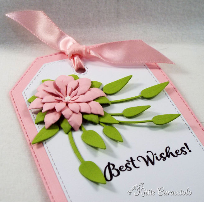 Come see how I made this pretty and feminine die cut tag and flower perfect to attach to a gift.