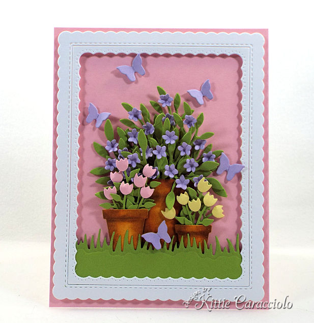 Come see how I made this spring die cut flower pots and butterflies project.