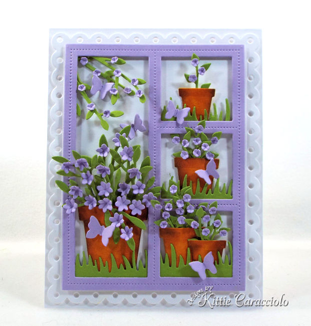 Come see how I made this window card with flower pots that would be perfect for a garden lover.