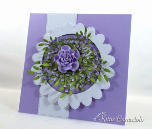 Die Cut Scalloped Circle Frame with Flowers