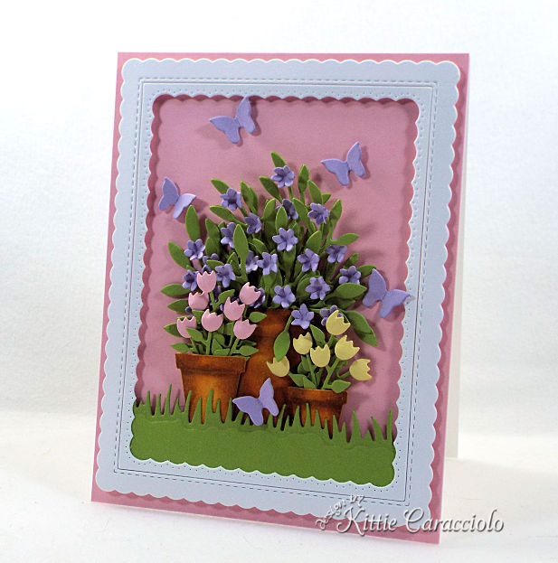 Come see how to make this spring die cut flower pots and butterflies project.