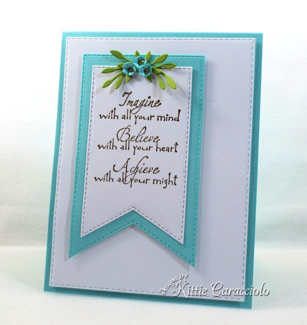Check out how I made this clean and simple die cut banner, sentiment and flowers card.