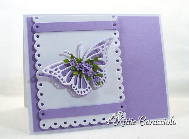 Check out how I made this clean and simple die cut butterfly, flowers and scallop layer card.