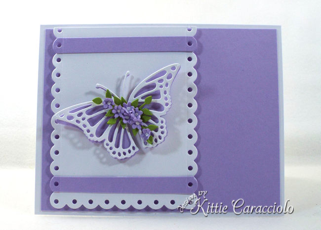 Check out how I made this clean and simple die cut butterfly, flowers and scallop layer project.