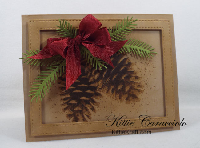Check out how I made this country Christmas pinecone card with layered stamps.