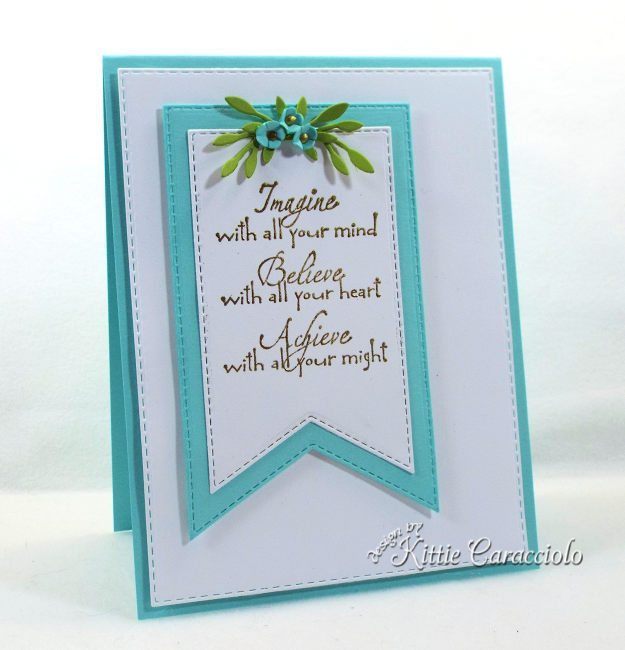 Check out how I made this pretty die cut banner, sentiment and flowers card.