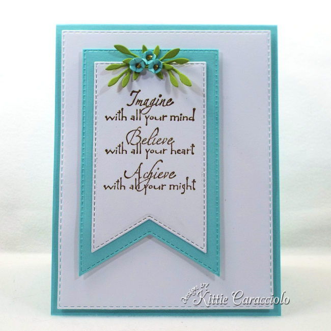 Check out how I made this simple yet elegant die cut banner, sentiment and flowers card.