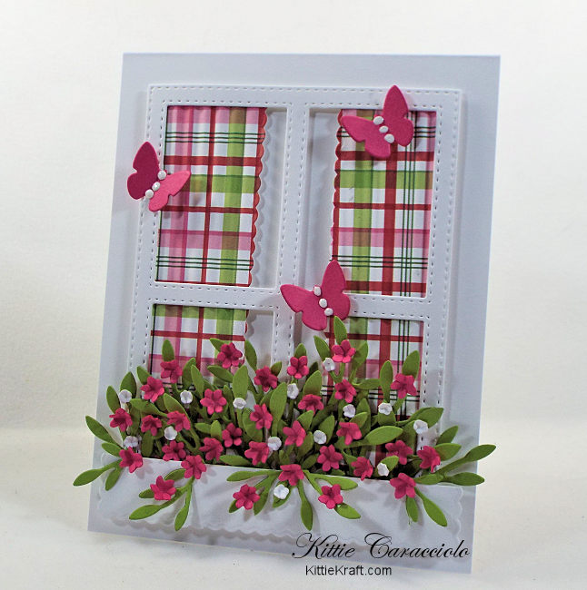 Come and see my pretty die cut window and window box full of flowers.