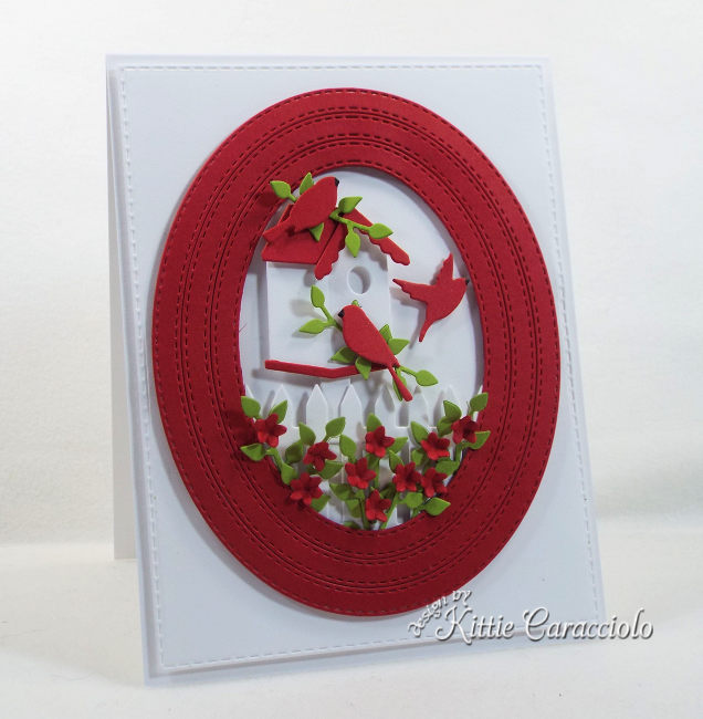 Come check out how I made this bright red, white Come check out how I made this summery red, white and green framed bird house and fence scene.and green framed bird house and fence scene.