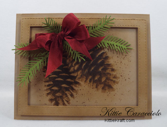 Come check out how I made this country Christmas pinecone card with layered stamps.