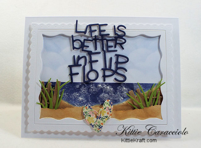 Come check out how I made this die cut flip flops beach scene card.