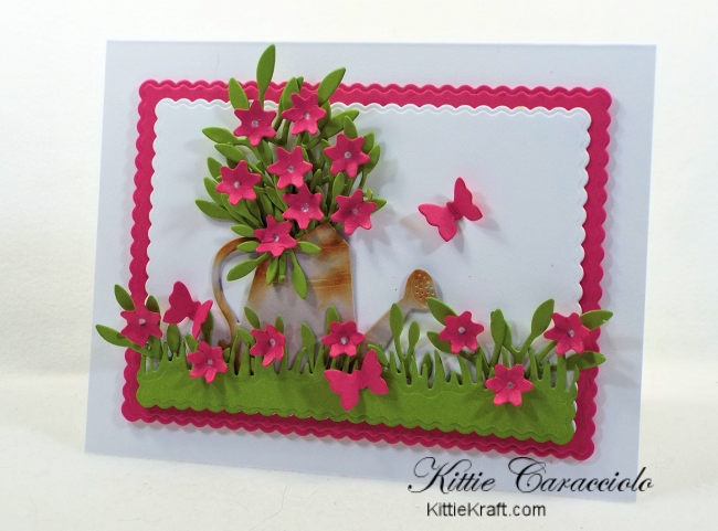 Come check out how I made this die cut watering can flowers scene card using Rubbernecker dies.