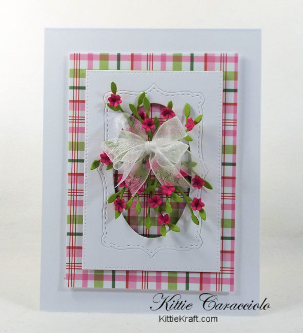 Come check out how I made this framed tiny paper flowers card with the colorful plaid background.