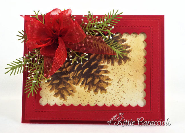 Come check out how I made this pretty Christmas card using the Impression Obsession Layered Pinecone card.