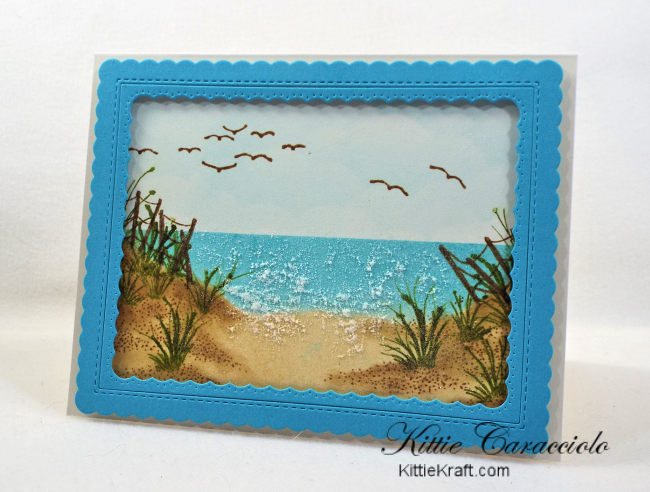 Come check out my framed beach scene with Kittie Kits stamps.