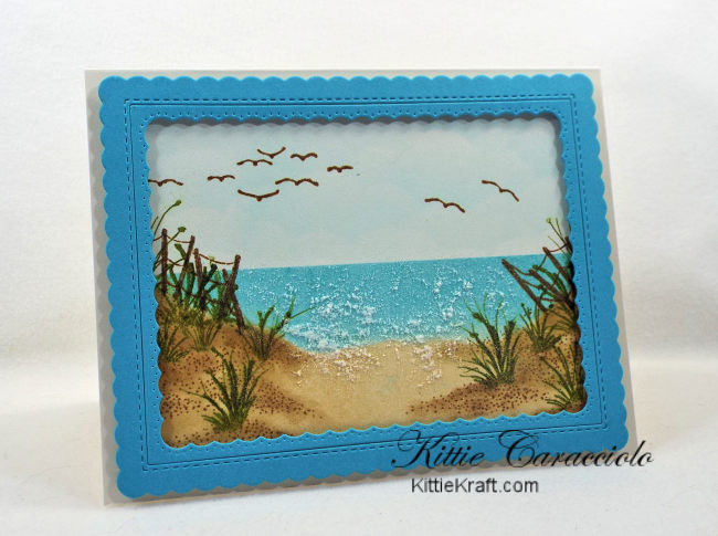 Come check out my framed pretty beach scene with Kittie Kits stamps.