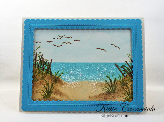 Come check out my summery framed beach scene with Kittie Kits stamps.