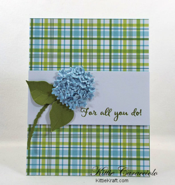 Come see how I made my clean and simple die cut hydrangea thank you card.