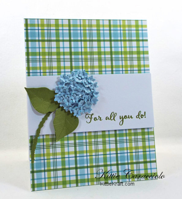 Come see how I made my pretty clean and simple die cut hydrangea thank you card.