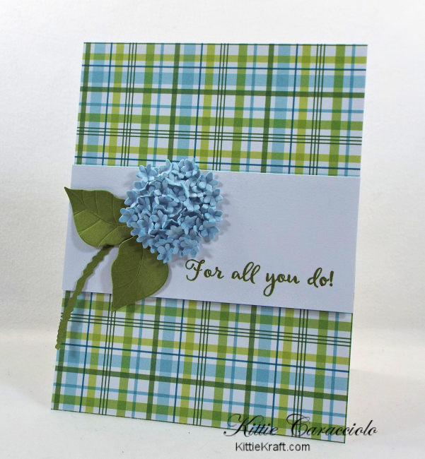 Come see how I made my pretty die cut hydrangea thank you card.