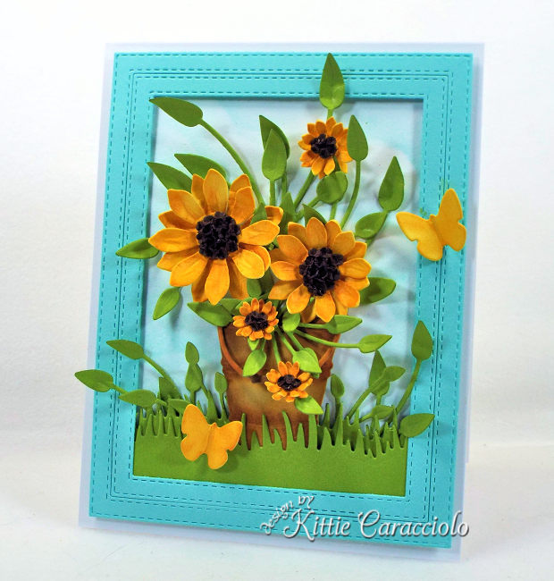 Come see how I made this bright and cheerful die cut sunflowers card .