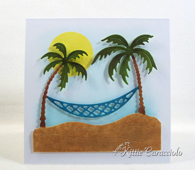 Come see how I made this clean and simple die cut tropical palm trees card.