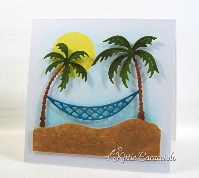 Come see how I made this clean and simple die cut tropical palm trees scene.