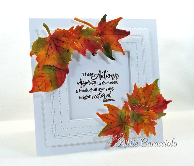 Come see how I made this colorful framed fall leaves with die cuts card.