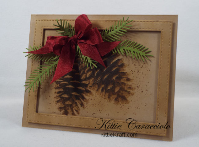 Come see how I made this country Christmas pinecone card with layered stamps.