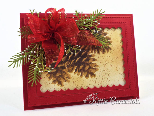 Come see how I made this festive Christmas card using the Impression Obsession Layered Pinecone card.