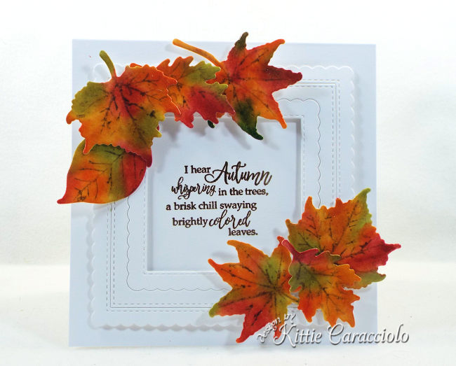 Come see how I made this framed fall leaves with die cuts card.