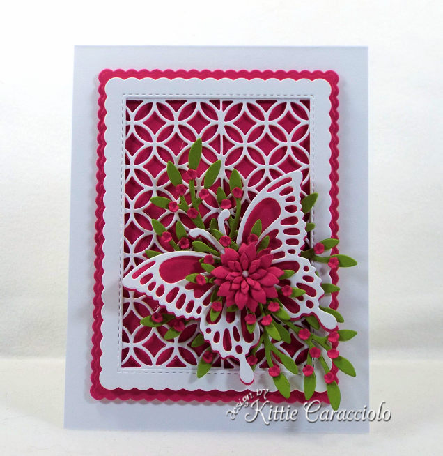 Come see how I made this lovely lattice and butterfly with flowers card.