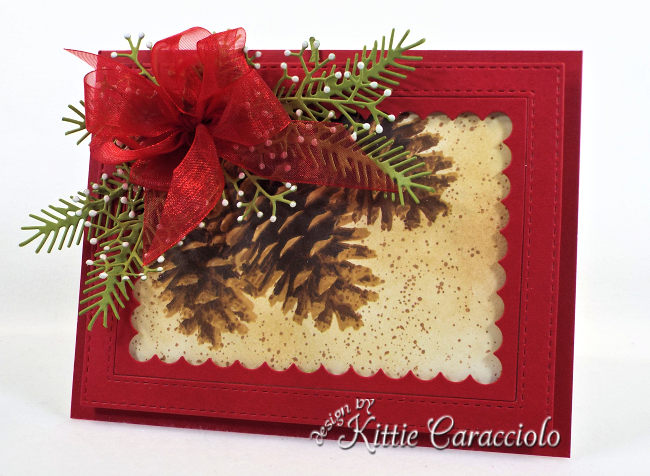 Come see how I made this pretty Christmas card using the Impression Obsession Layered Pinecone card.