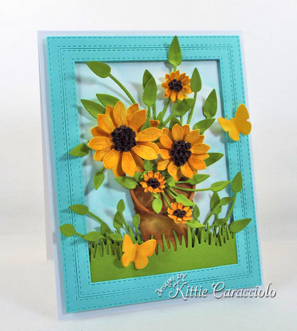 Come see how I made this pretty cheerful die cut sunflowers card .