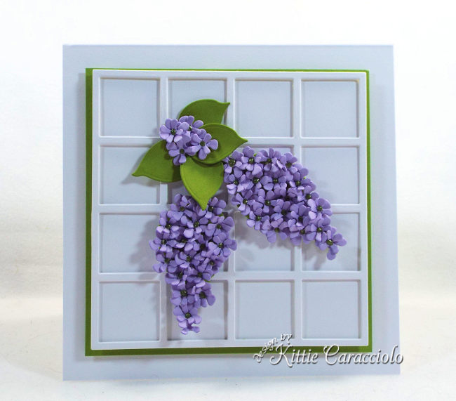Come see how I used Susan's Garden Notes die cut lilac set to make this elegant framed flower card.
