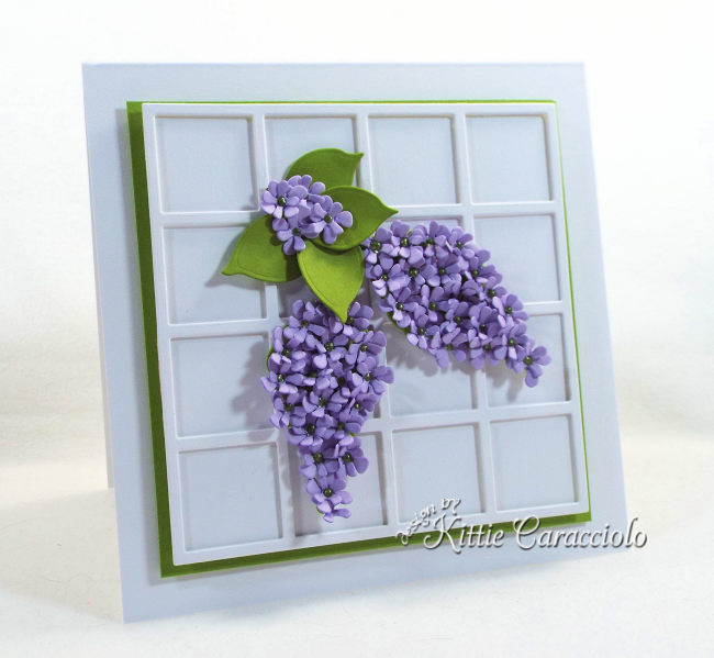 Come see how I used Susan's Garden Notes die cut lilac set to make this pretty framed flower card.