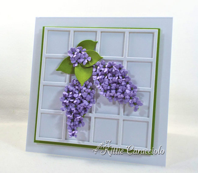 Come see how I used Susan's Garden Notes die cut lilac set to make this summery framed flower card.