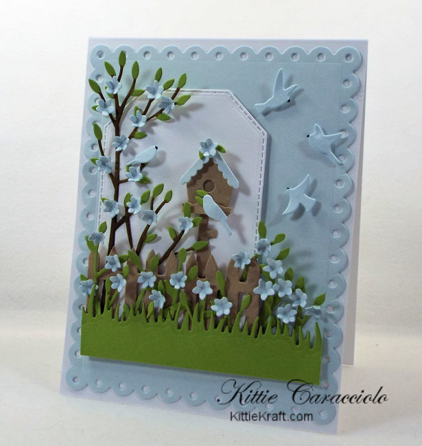 Come see my pretty bird house scene card using Rubbernecker dies.