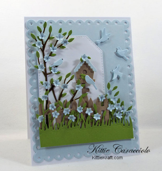 Come see my soft colored bird house scene card using Rubbernecker dies.