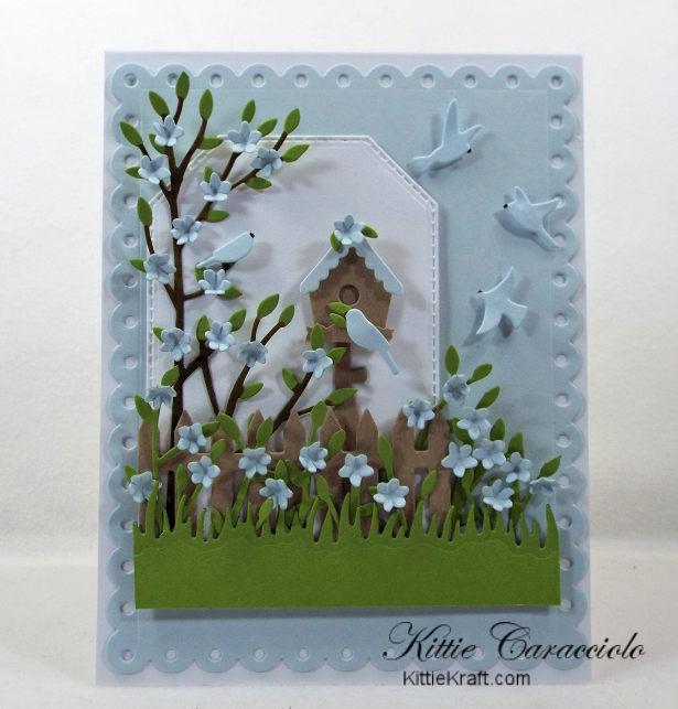 Come see my summer bird house scene card using Rubbernecker dies.