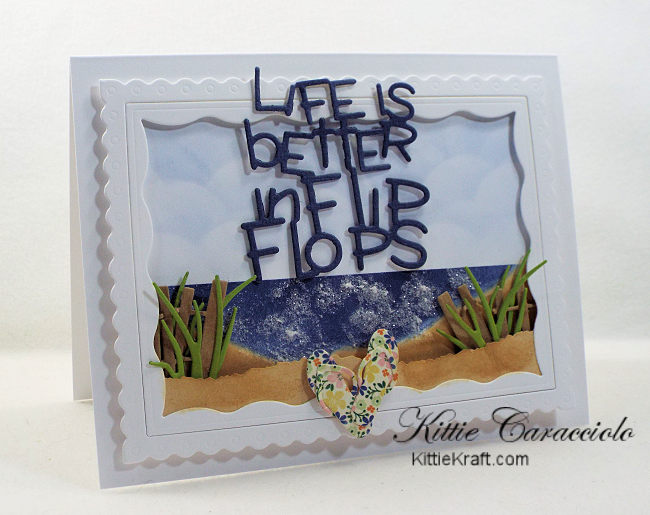 I hope you'll come check out how I made this fun die cut flip flops beach scene.