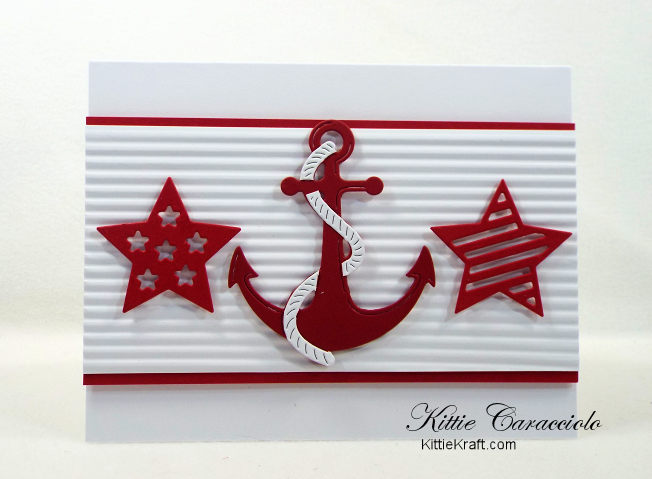 Come and see how I made this fun and simple die cut nautical anchor and stars card.