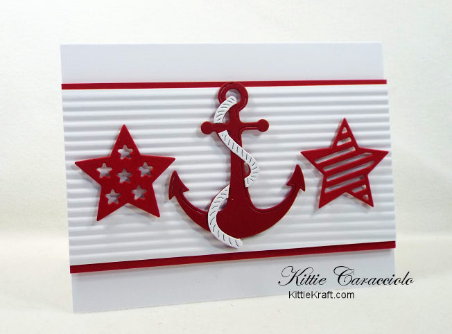 Come and see how I made this simple and fun die cut nautical anchor and stars card.