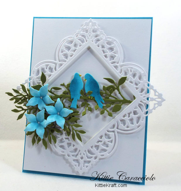 Come check out how I made this elegant die cut bird, branches and flowers card using Impression Obsession dies.