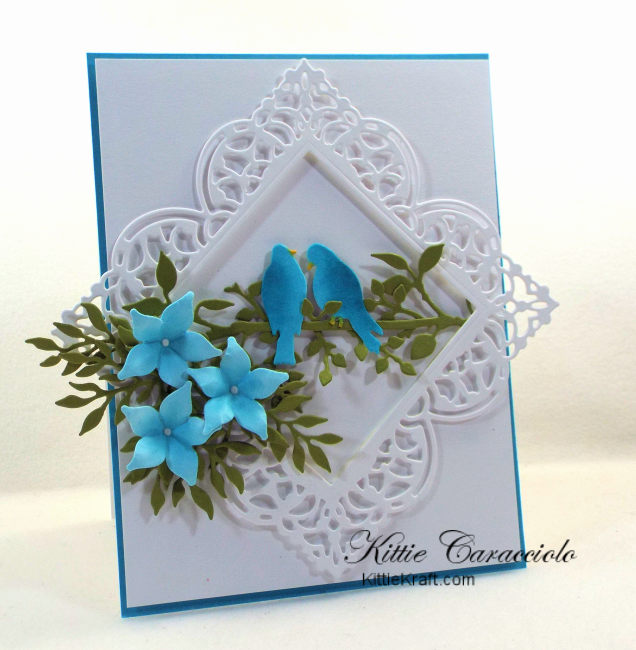 Come check out how I made this pretty die cut bird, branches and flowers card using Impression Obsession dies.