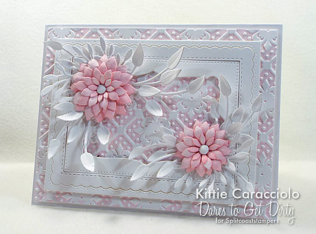 Come see how I made this beautiful paper flowers card with embossed background.